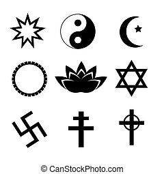 Religion symbol icons set.