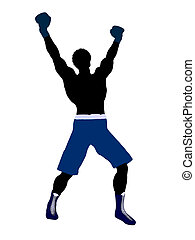African American Male Boxer Illustration Silhouette -...