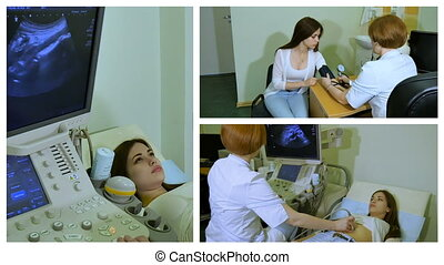 The doctor works with ultrasound device, collage