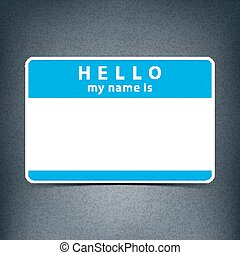 Blue blank tag sticker HELLO my name is