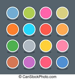 Flat blank web button circle icon with shadow - 16 3d blank...