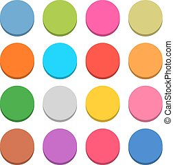 Flat blank web icon color round button - 16 blank icon in...