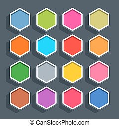 Flat blank web button hexagon icon with shadow