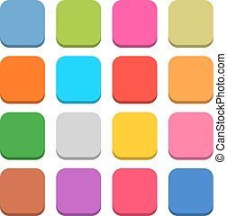 Flat blank web icon color rounded square button - 16 blank...