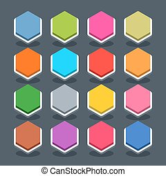 Flat blank web button hexagon icon with shadow - 16 3d blank...
