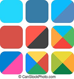 Flat blank rounded square icon set web button - 9 blank...