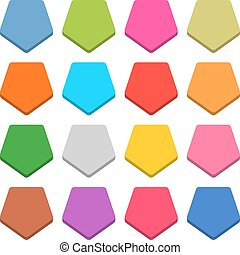 Flat blank web icon color pentagon button