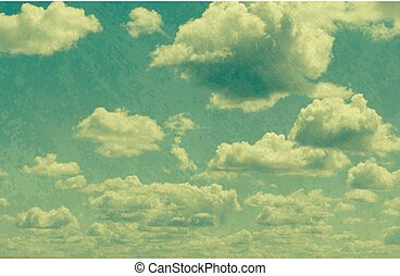 clouds in vintage style. sky with clouds Stylized under the...