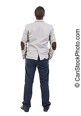 back view of Business man looks Rear view people collection...