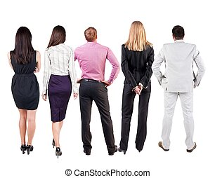 Back view of business team looks at wall Teamwork business...