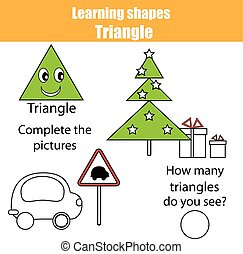 Educational children game, kids activity. Learning shapes, triangle