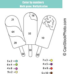 Coloring page with ice cream popsicle. Color by numbers math game, multiplication