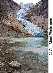 Melkevollbreen Glacier, Jostedalsbreen National Park, near...