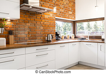 Kitchen with brick wall - Picture of spacious kitchen with...