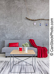 Winter cosiness of a contemporary room decor