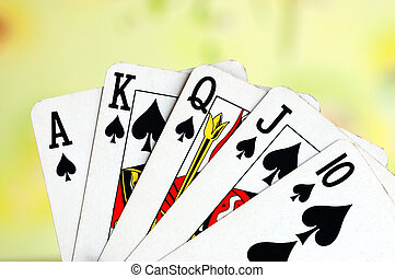 Royal flush from the poker cards