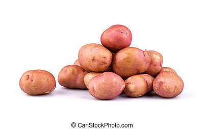Fresh potatoes isolated on white background.
