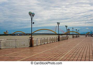 hermoso, Puente, forma, nang, agua, dragón, vietnam, Da,...