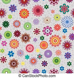 Seamless pattern with flowers over greyish background -...