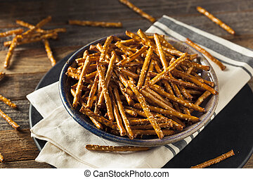 Healthy Salty Baked Pretzel Sticks Ready to Eat