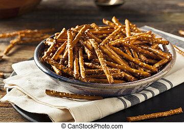 Healthy Salty Baked Pretzel Sticks Ready to Eat