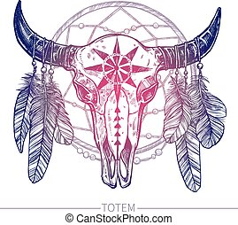 Buffalo Skull With Dreamcatcher - Buffalo Skull With...