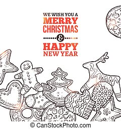 Christmas Card With Gingerbreads - Christmas Card With Set...