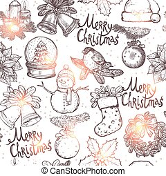 Christmas Sketch Seamless Pattern