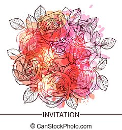 Invitation With Roses Flowers