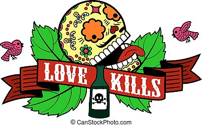 Stiker love kills - Vector label with skull, rose, birds,...