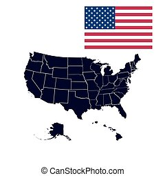 US states in the map of America - Set of US states in the...