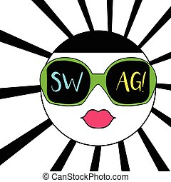 Colorful abstract face in sunglasses and swag text. Vector...