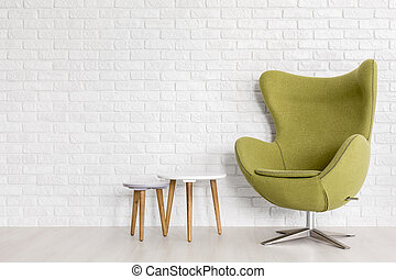 Simple beauty of present-day furniture - Olive green lounge...