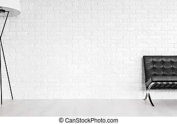 Immersed in the downtown lounge room - White brick wall in a...