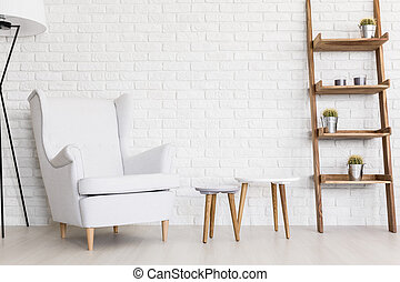 Peaceful whiteness of comfy lounge corner - Very bright...