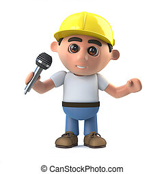 3d Construction worker has the microphone - 3d render of a...