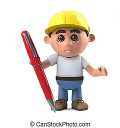 3d Construction worker with pen - 3d render of a...