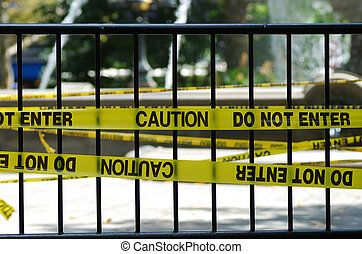 The Caution and Do Not Enter sign from the police