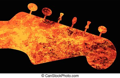 Flaming Guitar Headstock - A traditional solid body electric...