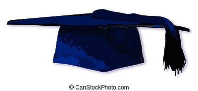 Mortarboard In Blue - A blue mortarboard students cap over a...