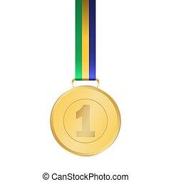 Gold medal winner of the prize-winner on ribbon. vector...