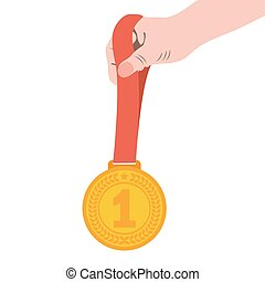 Gold medal champion in the hand. Vector illustration, icon...