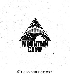 Black emblem with the wood, tent and the mountain, vintage...