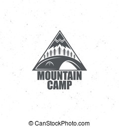 Monochrome emblem with the wood, tent and the mountain, for...