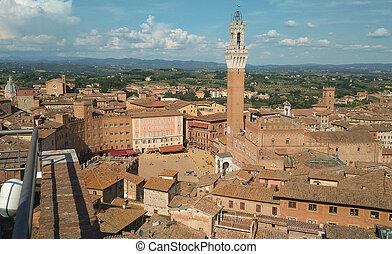 Piazza del Campo in Siena - Piazza del Campo square in...