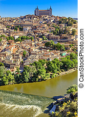Alcazar Fortress Medieval City Tagus River Toledo Spain - is...