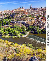 Cathedral Chhurches Medieval City Tagus River Toledo Spain -...