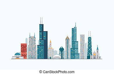Chicago colorful skyline - Vector graphics, flat city...