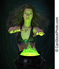 Witchcraft - 3d render of a beautiful witch making green...
