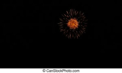 Golden Orange Balls Of Fireworks Isolated On Dark Background...
